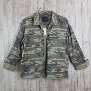 NEW Sanctuary Raw Hem Camouflage Jaccket